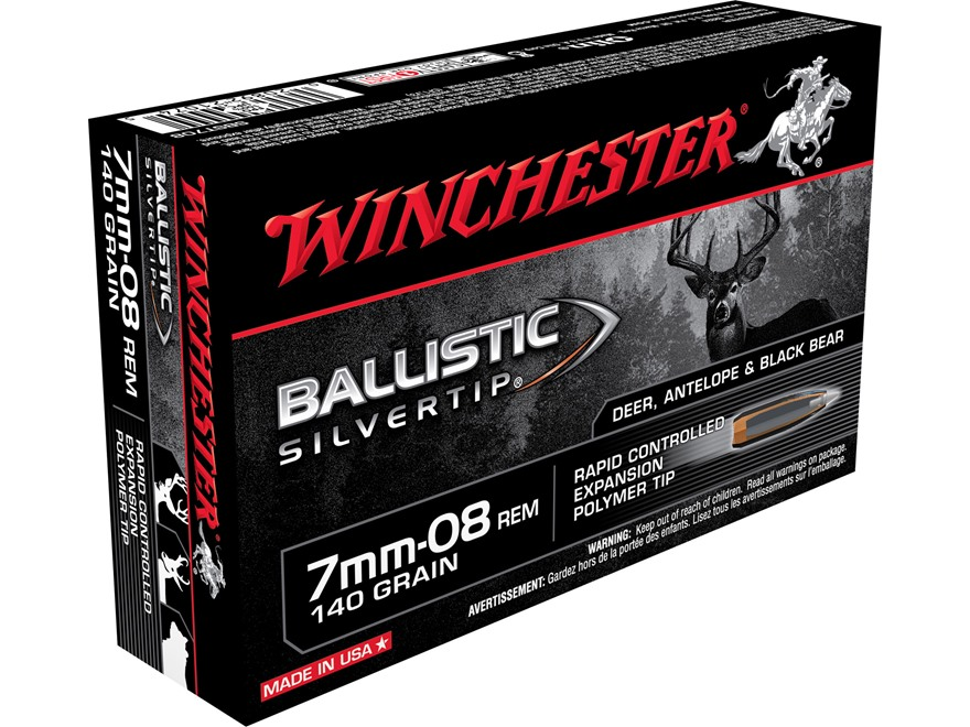 Winchester Ballistic Silvertip Ammunition 7mm-08 Remington 140 Grain Rapid Controlled E...