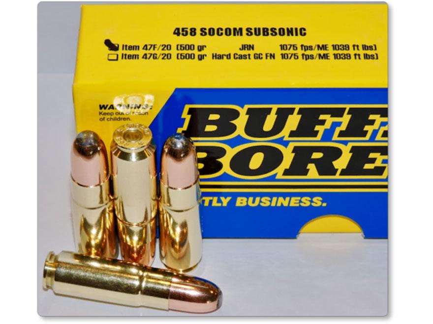 Buffalo Bore Ammunition 458 SOCOM Subsonic 500 Grain Jacketed Round Nose Box of 20