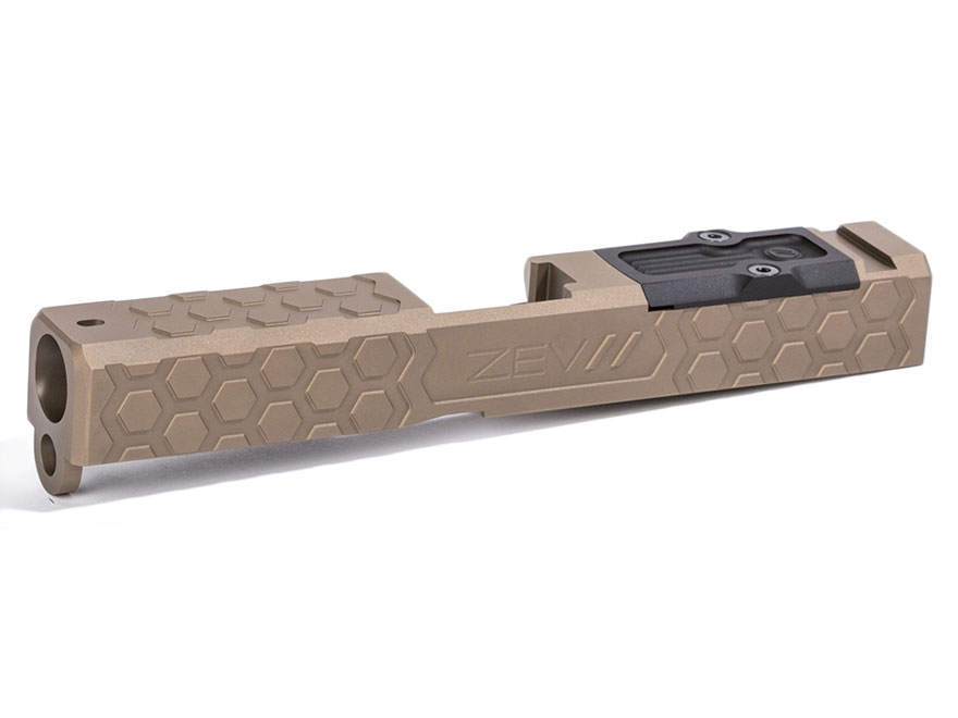 ZEV Technologies Hex Cut Signature Slide with Trijicon RMR Red Dot Sight Cut Glock 19 G...