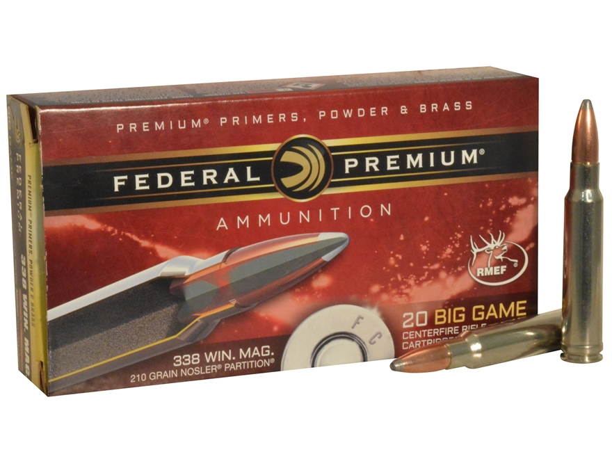 Federal Premium Big Game Ammunition 338 Winchester Magnum 210 Grain Nosler Partition Bo...