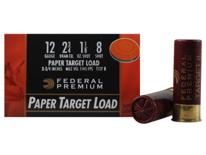 "Federal Premium Gold Medal Paper Ammunition 12 Gauge 2-3/4"" 1-1/8 oz #8 Shot Box of 25"