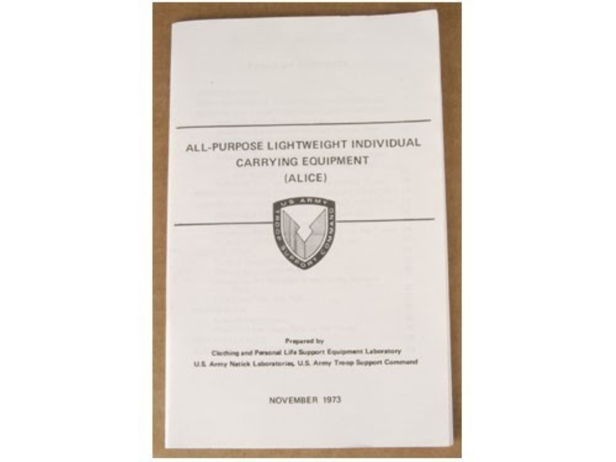 """All Purpose Lightweight Individual Carrying Equipment"" Military Manual by Department o..."
