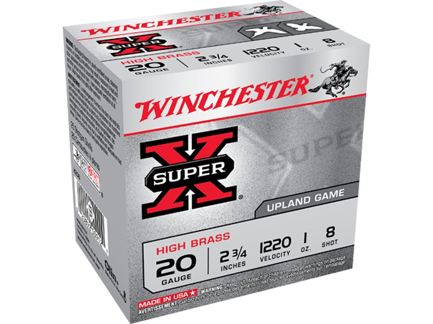 "Winchester Super-X High Brass Ammunition 20 Gauge 2-3/4"" 1 oz #8 Shot"