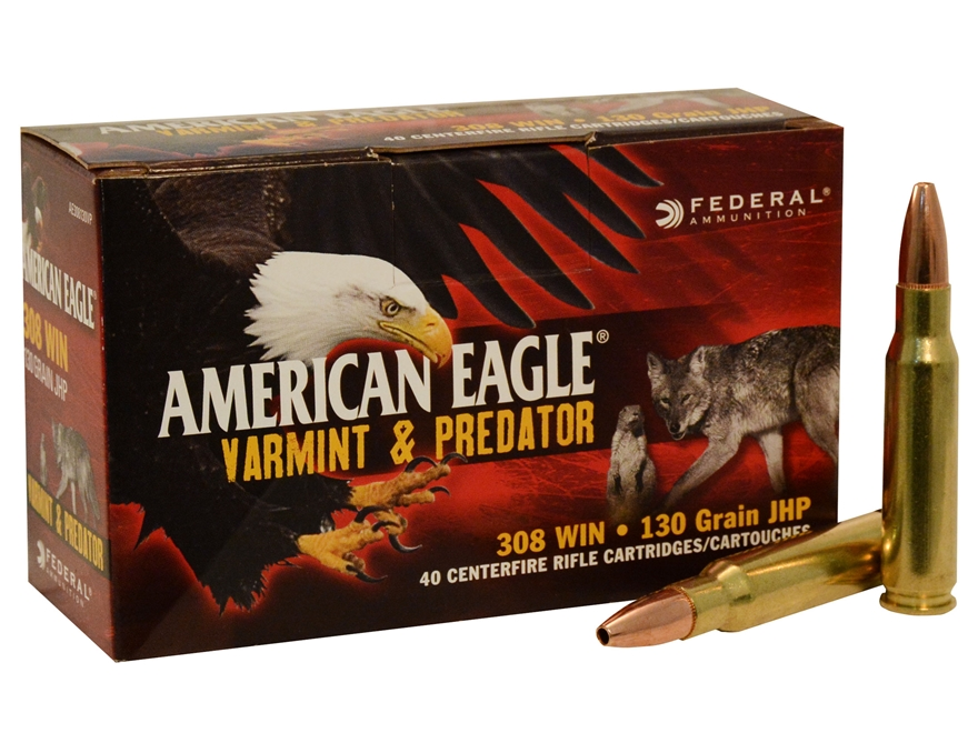 Federal American Eagle Ammunition 308 Winchester 130 Grain Hollow Point Box of 40