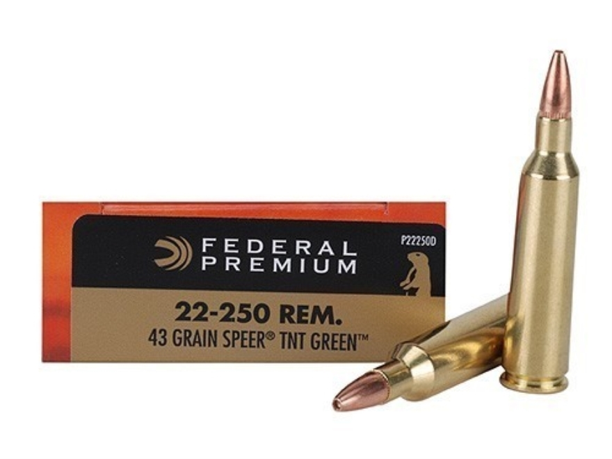Federal Premium V-Shok Ammunition 22-250 Remington 43 Grain Speer TNT Green Hollow Poin...
