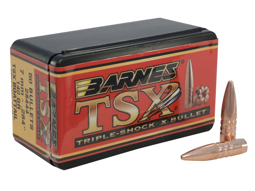 Barnes Triple-Shock X (TSX) Bullets 284 Caliber, 7mm (284 Diameter) 140 Grain Hollow Po...
