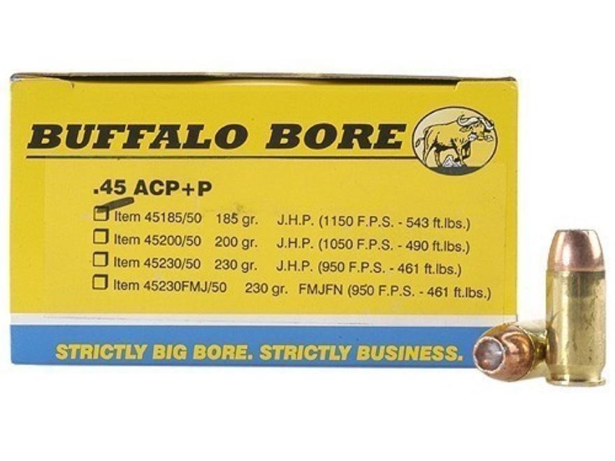 Buffalo Bore Ammunition 45 ACP +P 185 Grain Jacketed Hollow Point Box of 20