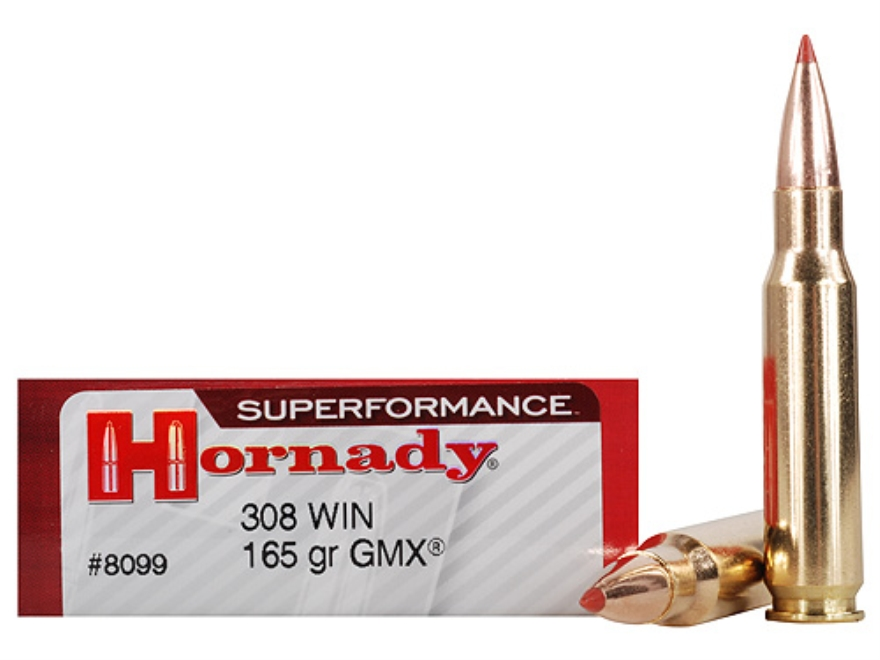 Hornady Superformance GMX Ammunition 308 Winchester 165 Grain GMX Boat Tail Lead-Free B...