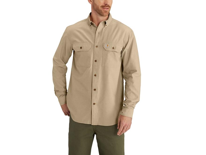 Carhartt Men's Fort Lightweight Chambray Button-Up Shirt Long Sleeve Relaxed Fit Cotton