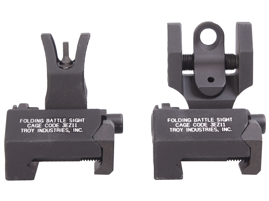 Troy Industries Medium Flip-Up Battle Sight Set M4-Style Front, Round Rear AR-15 Aluminum