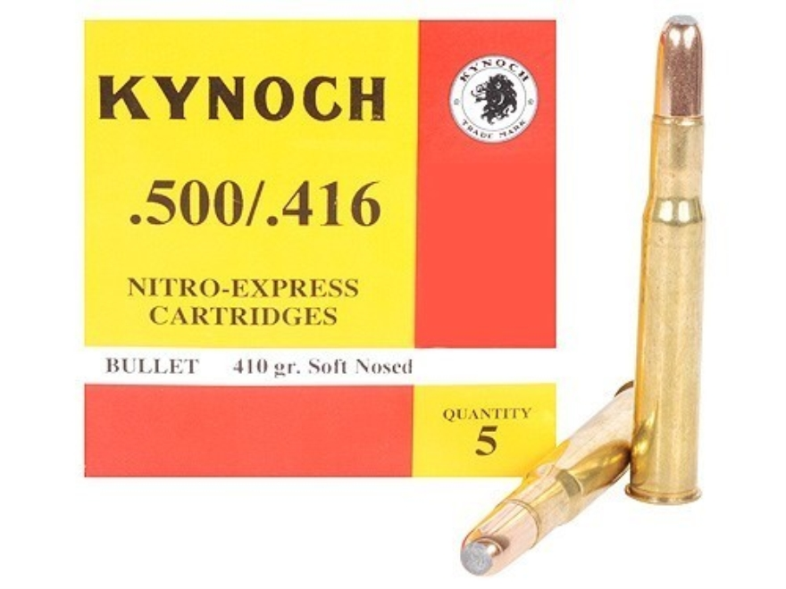 Kynoch Ammunition 500-416 Nitro Express 410 Grain Woodleigh Welded Core Soft Point Box ...