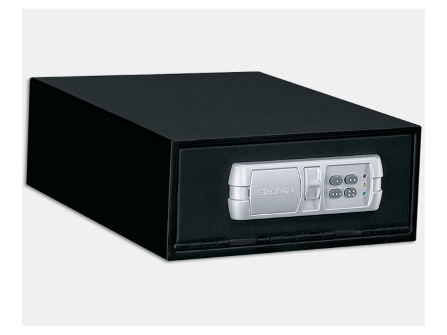 Stack-On Quick Access Low Profile Safe with Electronic Lock and Mounting Plate Black