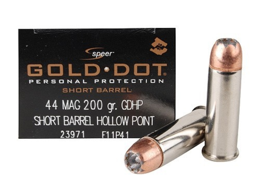 Speer Gold Dot Short Barrel Ammunition 44 Remington Magnum 200 Grain Jacketed Hollow Po...