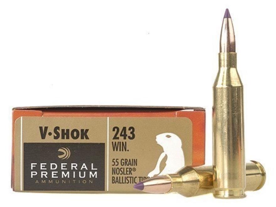 Federal Premium V-Shok Ammunition 243 Winchester 55 Grain Nosler Ballistic Tip Box of 20