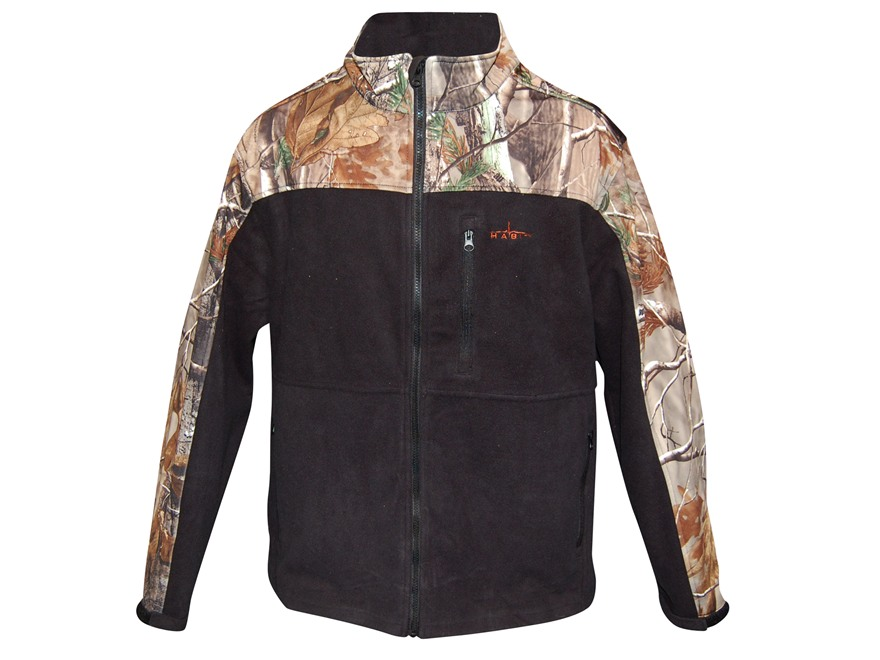 Habit Men's Softshell Fleece Jacket Polyester Black Realtree AP Camo