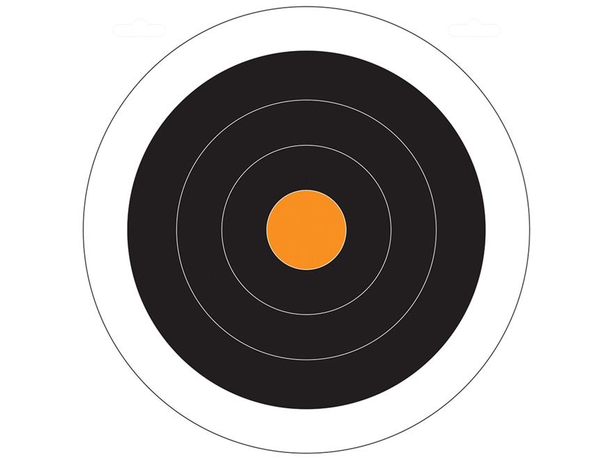 """Do-All Black/Orange Dot 10"""" x 10"""" Bullseye Paper Target Package of 10"""