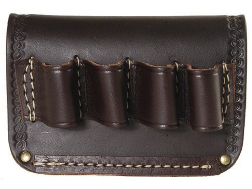 Hunter Belt Slide Shotshell Ammunition Carrier 4-Round 12 Gauge Leather Antique Brown