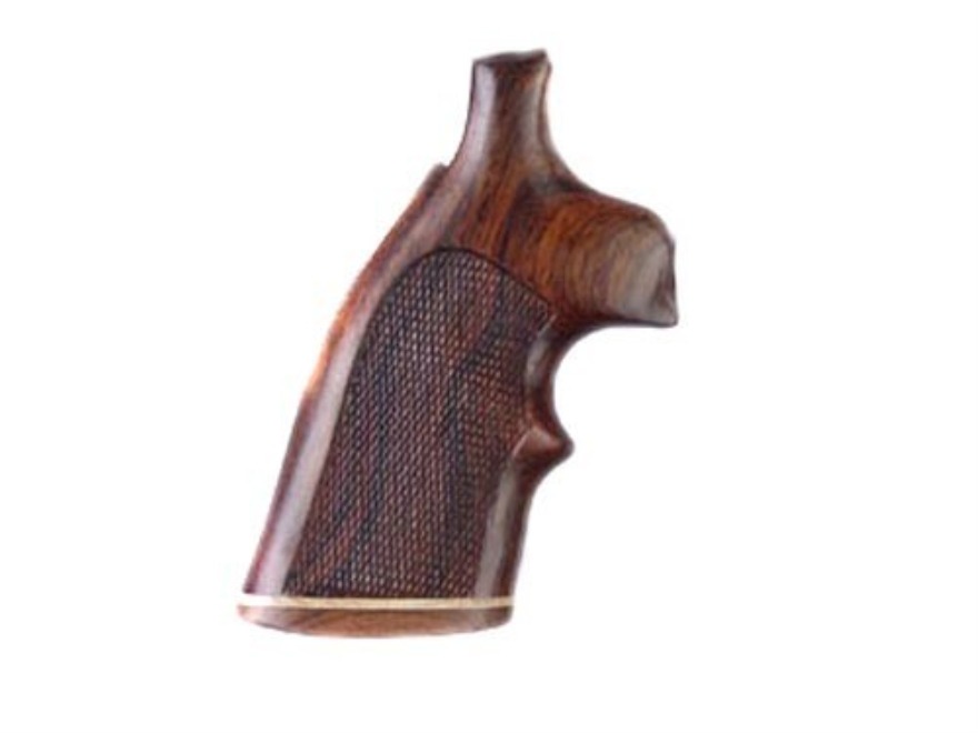 Hogue Fancy Hardwood Grips with Accent Stripe and Top Finger Groove Colt Python Checkered