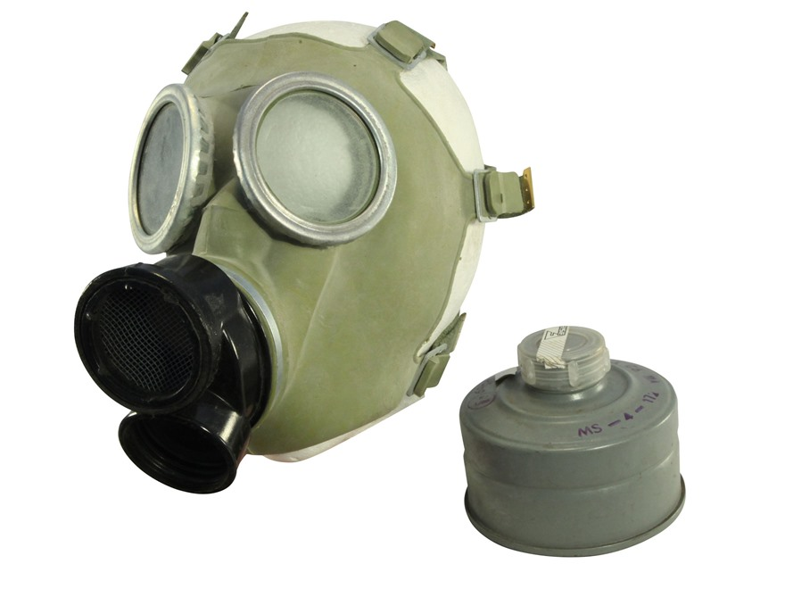 Military Surplus Polish Gas Mask with Filters and Camo Bag Grade 1 Small