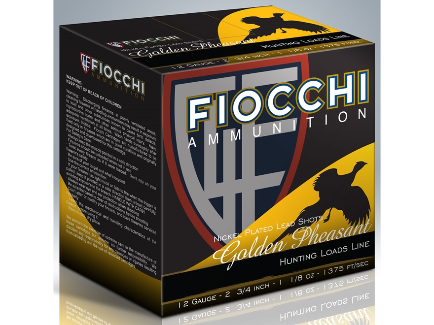 "Fiocchi Golden Pheasant Ammunition 12 Gauge 2-3/4"" 1-3/8 oz #4 Nickel Plated Shot Box o..."
