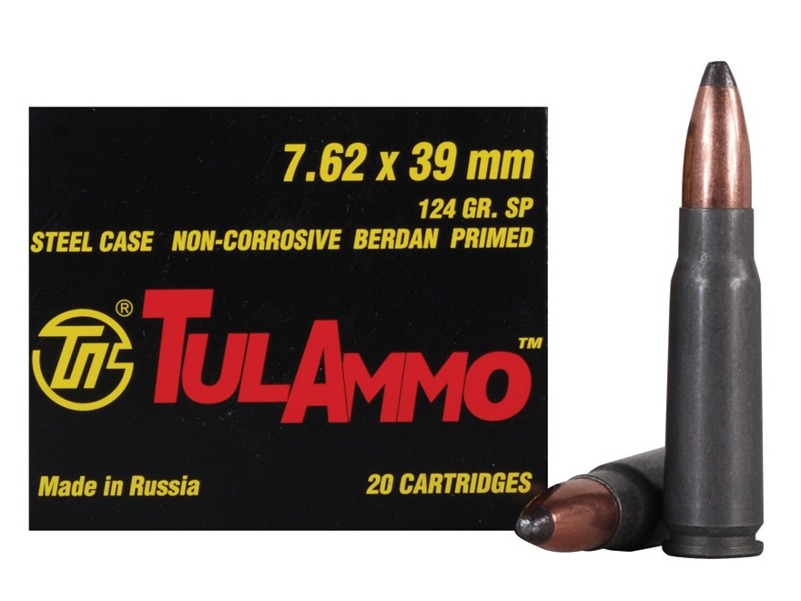 TulAmmo Ammunition 7.62x39mm 124 Grain Soft Point (Bi-Metal) Steel Case Berdan Primed