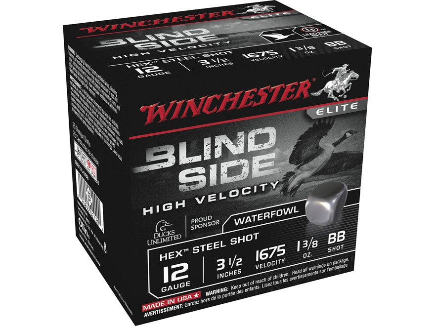 "Winchester Blind Side High Velocity Ammunition 12 Gauge 3-1/2"" 1-3/8 oz BB Non-Toxic St..."