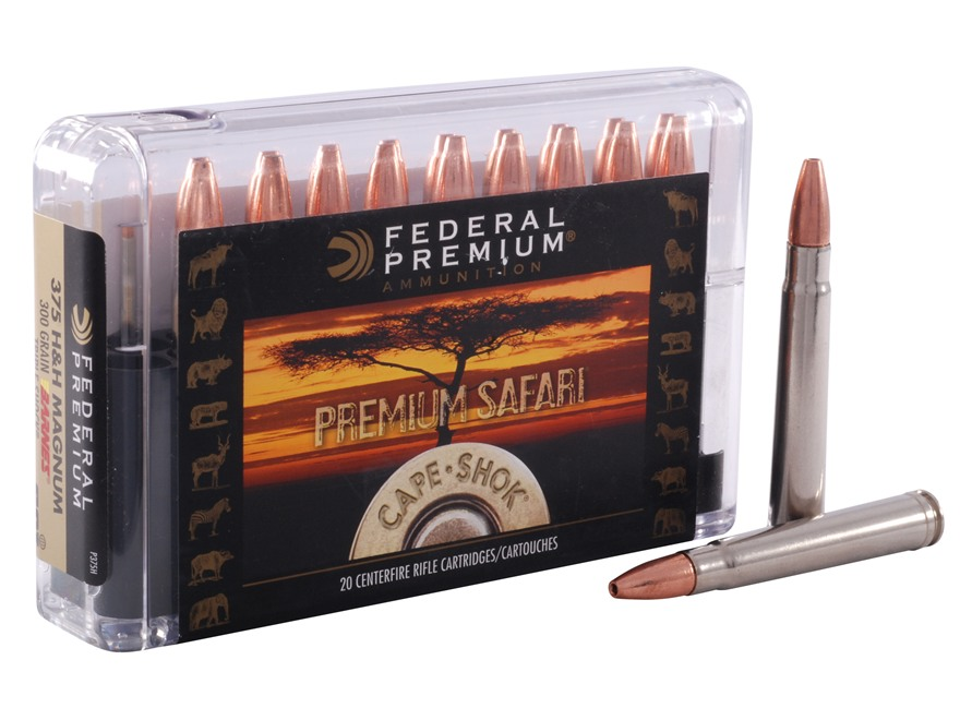 Federal Premium Cape-Shok Ammunition 375 H&H Magnum 300 Grain Barnes Triple-Shock X Bul...