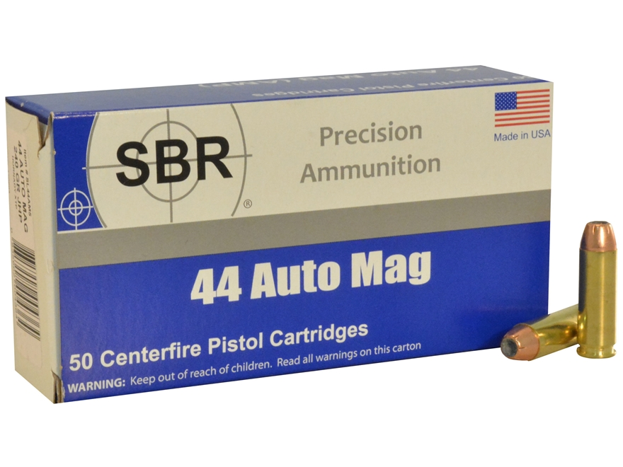 SBR Ammunition 44 Auto Mag (AMP) 240 Grain Hornady XTP Box of 50
