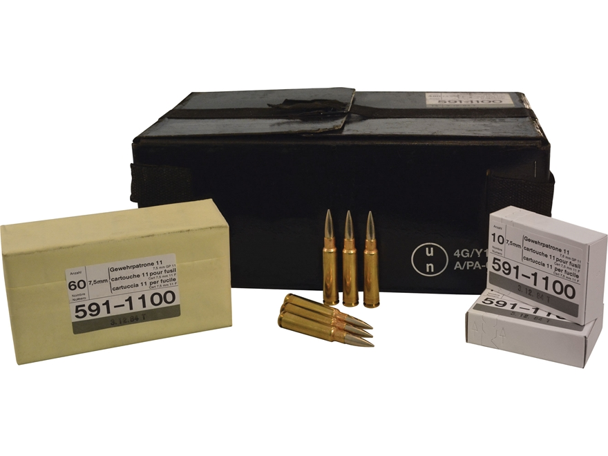 Military Surplus Ammunition 7.5mm Schmidt-Rubin (7.5x55mm Swiss) 174 Grain Full Metal J...