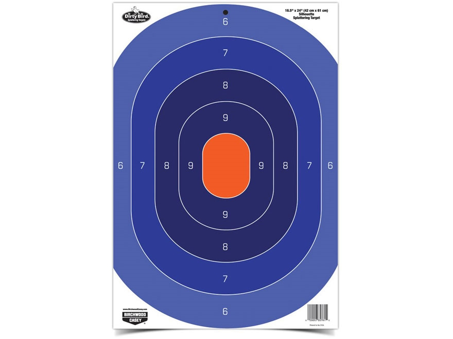 "Birchwood Casey Dirty Bird Blue/Orange Oval Silhouette 16.5"" x 24"" Target Pack of 3"