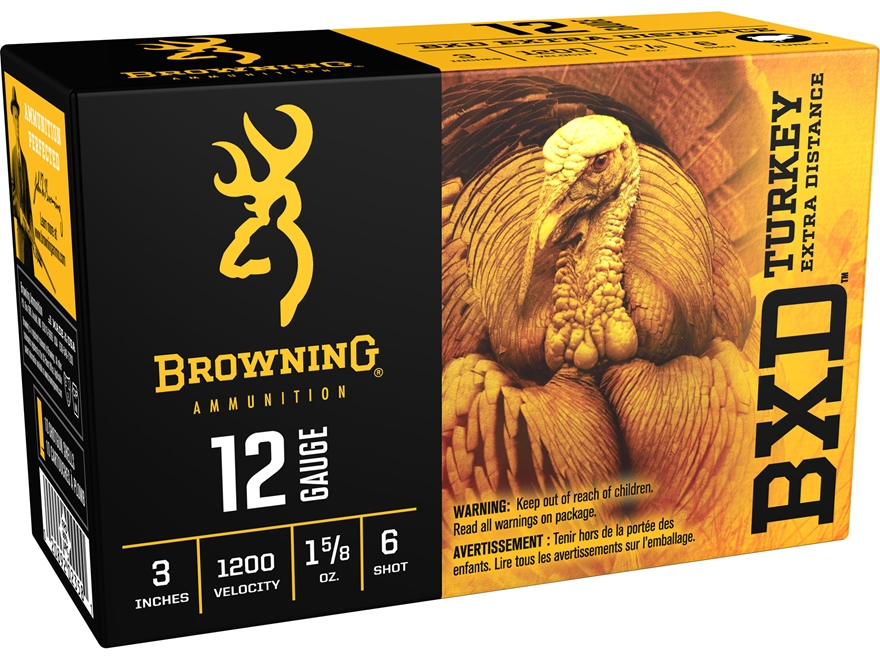 "Browning BXD Extra Distance Turkey Ammunition 12 Gauge 3"" 1-5/8 oz #6 Nickel Plated Shot"