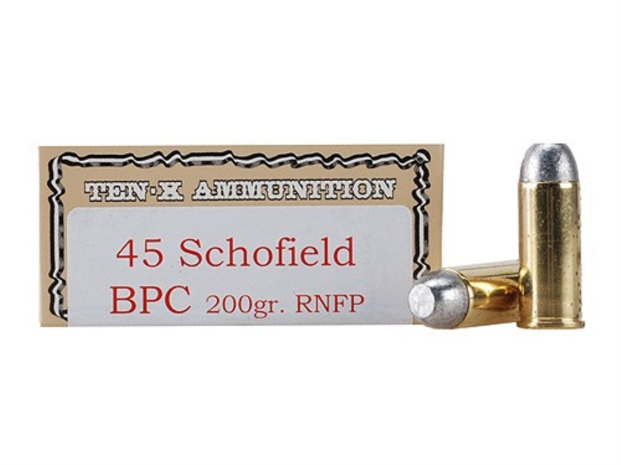 Ten-X Cowboy Ammunition 45 S&W Schofield 200 Grain Lead Round Nose Flat Point BPC Box o...
