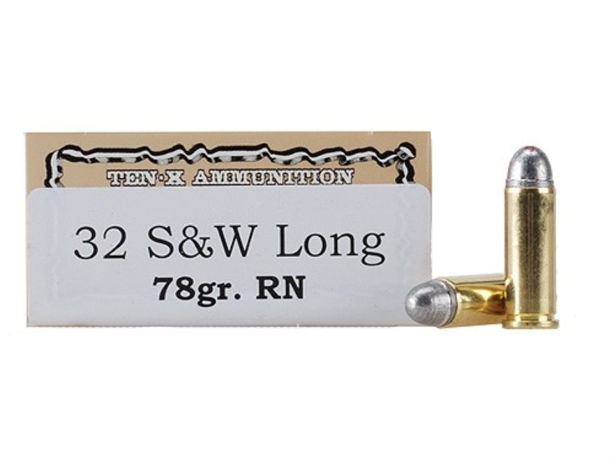Ten-X Cowboy Ammunition 32 S&W Long 78 Grain Lead Round Nose Box of 50