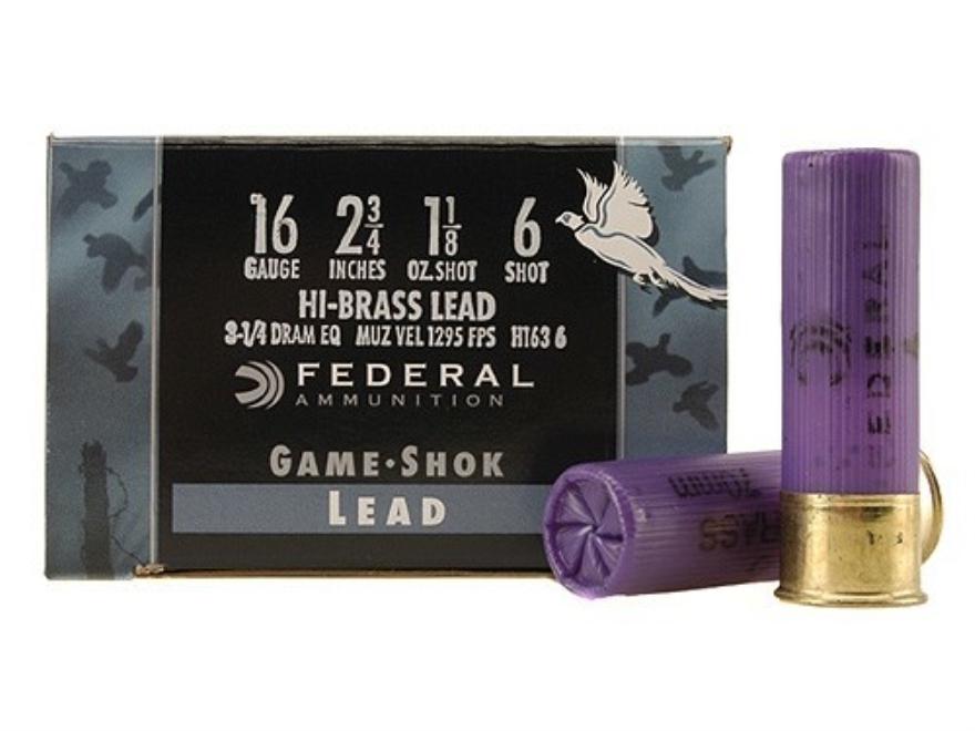 """Federal Game-Shok Hi-Brass Ammunition 16 Gauge 2-3/4"""" 1-1/8 oz #6 Shot"""