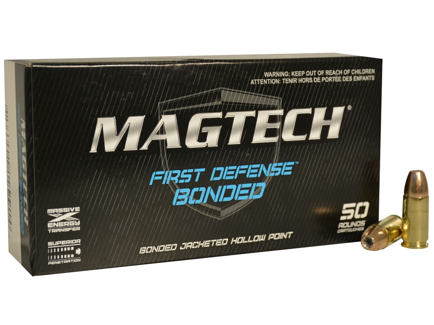 Magtech First Defense Bonded Ammunition 9mm Luger 124 Grain Bonded Hollow Point