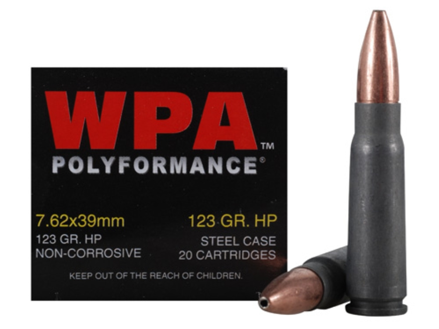 Wolf Ammunition 7.62x39mm 123 Grain Jacketed Hollow Point (Bi-Metal) Steel Case Berdan ...