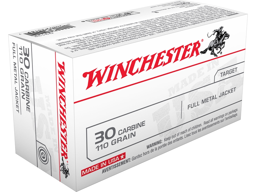 Winchester USA Ammunition 30 Carbine 110 Grain Full Metal Jacket