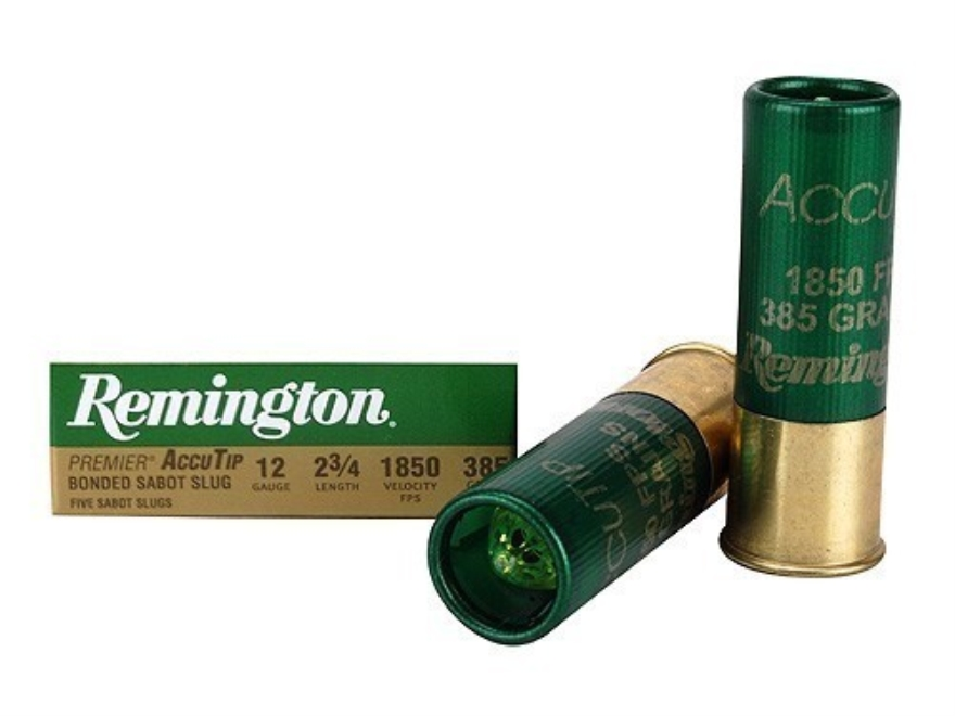 "Remington Premier Ammunition 12 Gauge 2-3/4"" 385 Grain AccuTip Bonded Sabot Slug with P..."