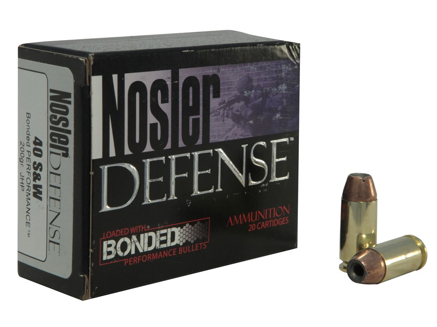 Nosler Defense Ammunition 40 S&W 200 Grain Bonded Jacketed Hollow Point Box of 20