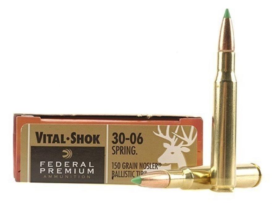 Federal Premium Vital-Shok Ammunition 30-06 Springfield 150 Grain Nosler Ballistic Tip ...