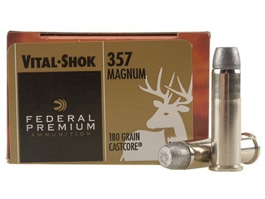 Federal Premium Vital-Shok Hunting Ammunition 357 Magnum 180 Grain CastCore Lead Flat P...