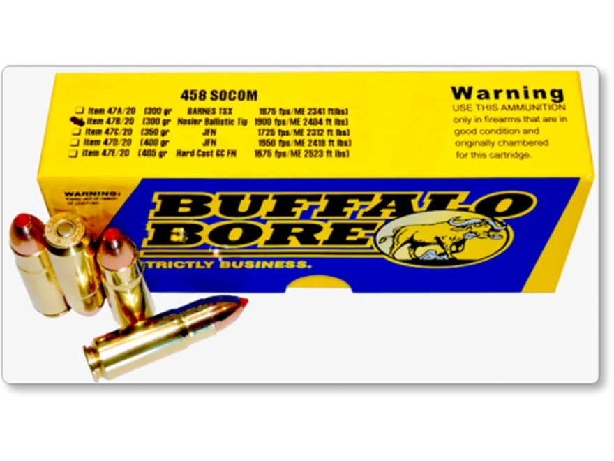 Buffalo Bore Ammunition 458 SOCOM 300 Grain Nosler Ballistic Tip Box of 20