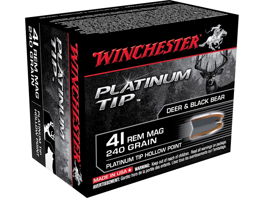 Winchester Ammunition 41 Remington Magnum 240 Grain Platinum Tip Hollow Point Box of 20
