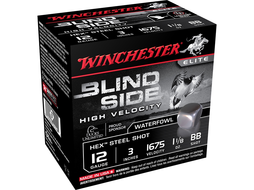 "Winchester Blind Side High Velocity Ammunition 12 Gauge 3"" 1-1/8 oz BB Non-Toxic Steel ..."