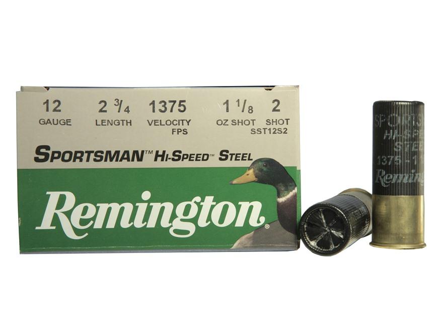 "Remington Sportsman Hi-Speed Ammunition 12 Gauge 2-3/4"" 1-1/8 oz #2 Non-Toxic Steel Shot"
