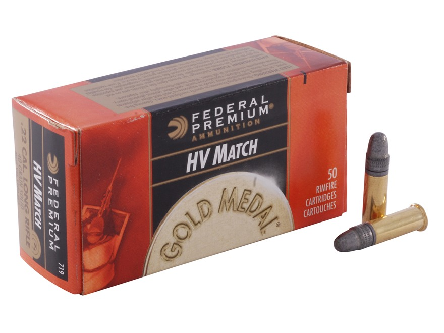 Federal Premium Gold Medal Target Ammunition 22 Long Rifle High Velocity 40 Grain Lead ...