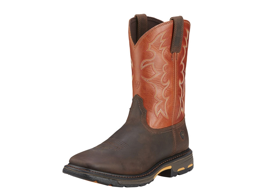 "Ariat Workhog 11"" Pull-On Square Toe Work Boots Leather Men's"