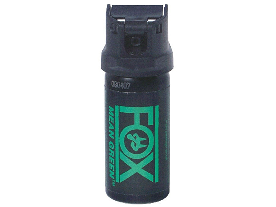 Fox Labs Mean Green Pepper Spray Aerosol Flip Top Stream 6% OC and Dye Black