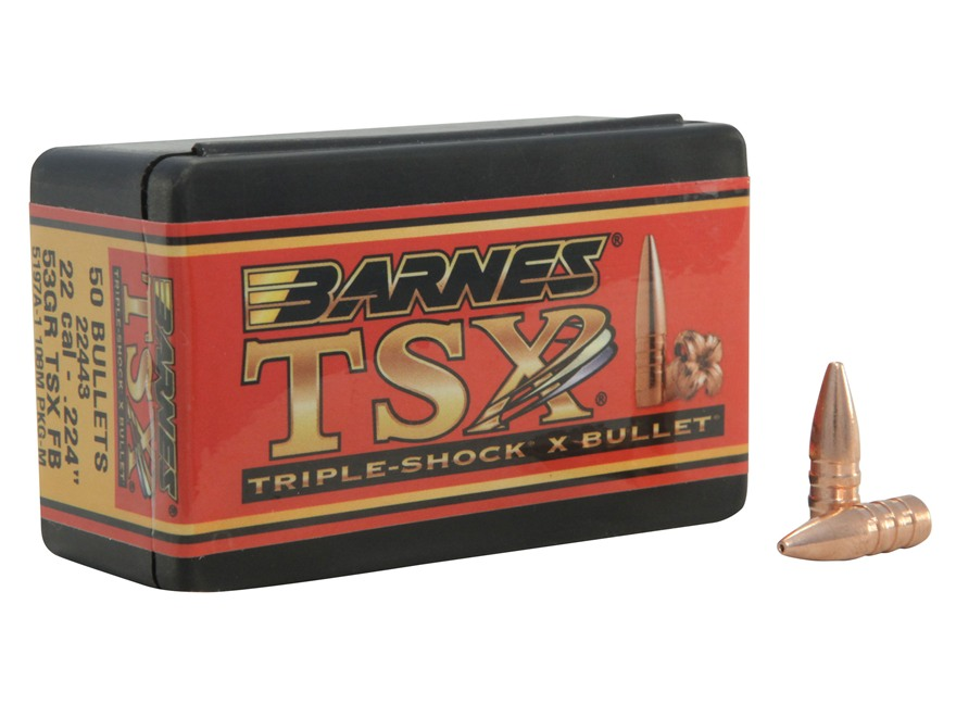 Barnes Triple-Shock X Bullets 22 Caliber (224 Diameter) 53 Grain Hollow Point Flat Base...