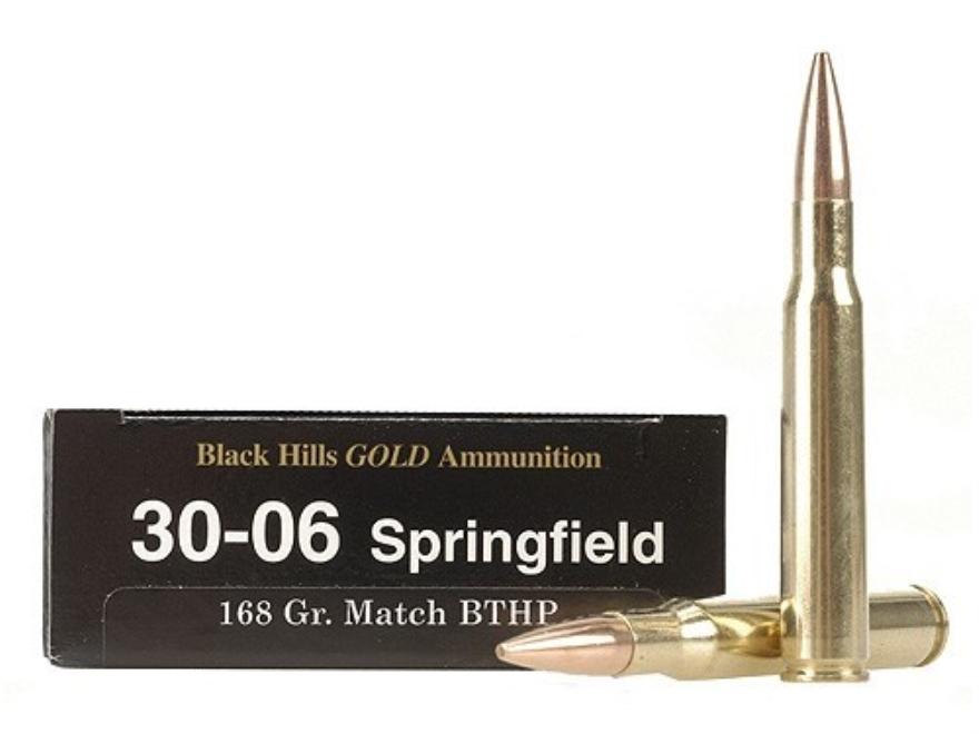 Black Hills Gold Ammunition 30-06 Springfield 168 Grain Hornady Match Hollow Point Boat...